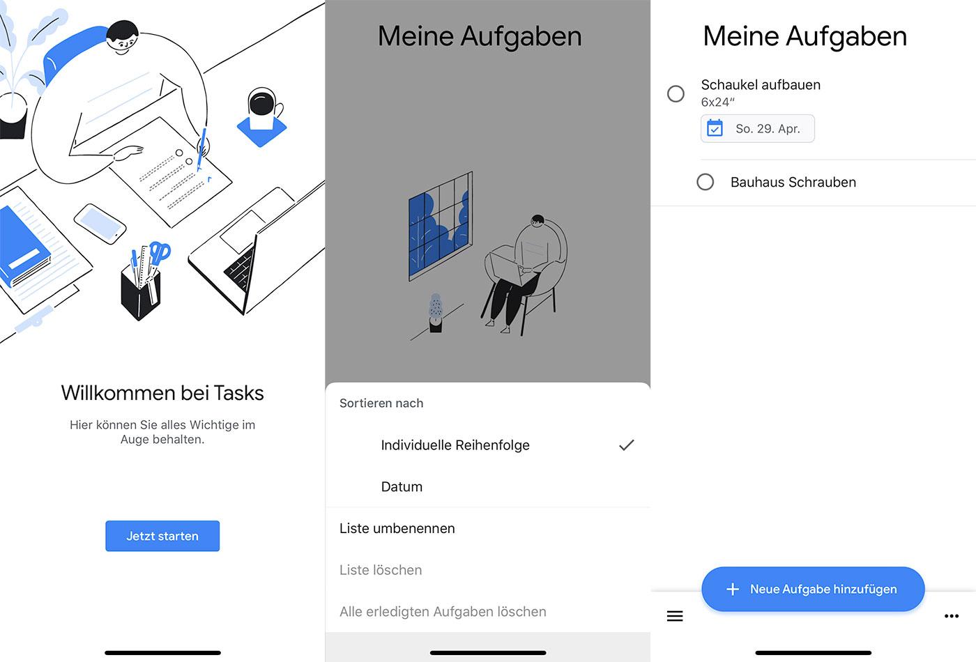 Google Tasks Screens
