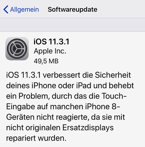 IOS 11.3.1 verfügbar