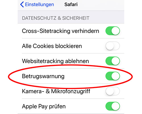 Ios Safari Betrugswarnung