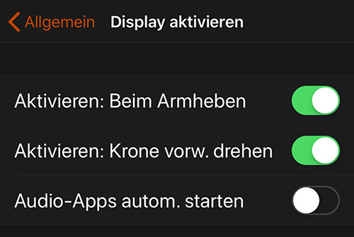 Apple Watch Display Aktivieren Einstellung
