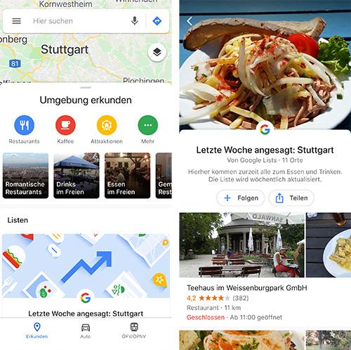 Google Maps Erkunden Tab