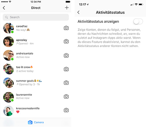 Instagram Online Status