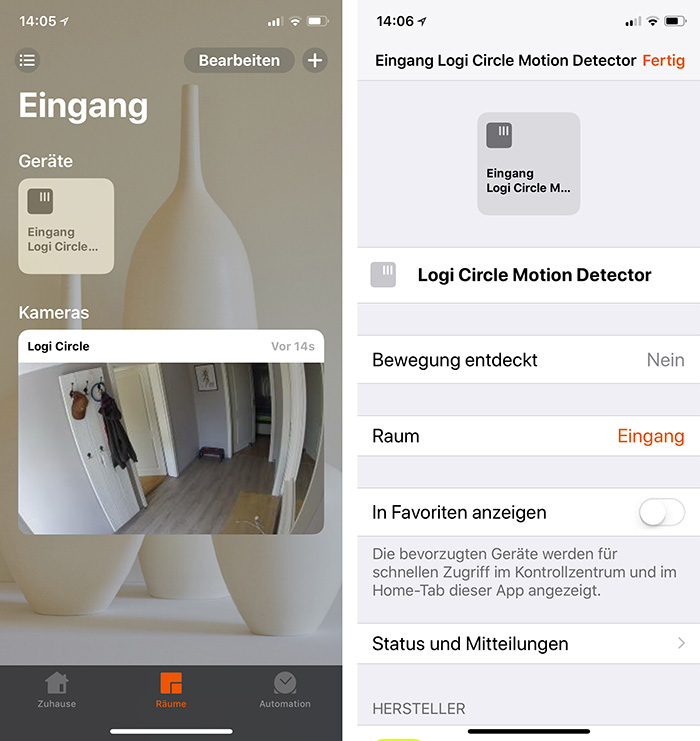 Logi Circle 2 Homekit Home App