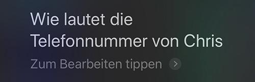 Siri Telefonnummer Vorlesen