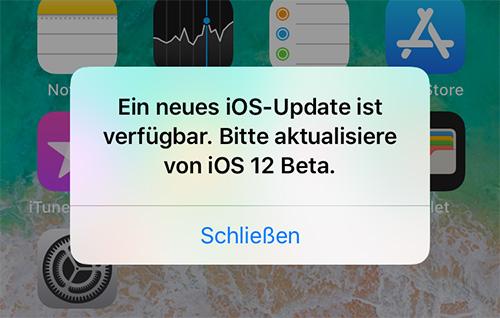 Bitte Aktualisiere Ios 12 Beta