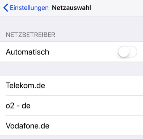 Iphone Manuelle Netzwahl