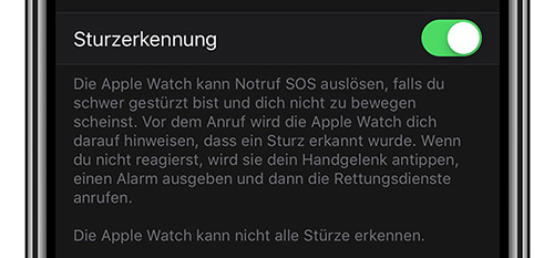 Apple Watch Sturzerkennung Info