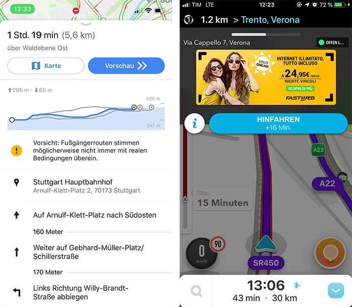 Google Fussgaenger Navigation Hoehenprofil