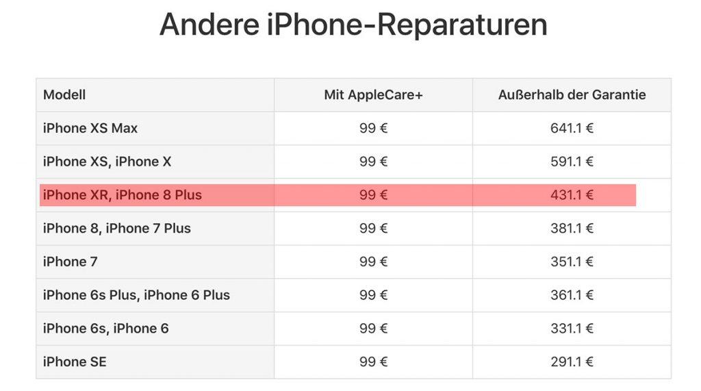 Andere Kosten Iphone Xr