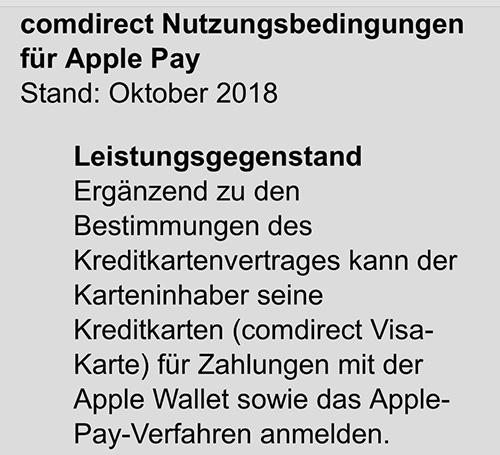 Comdirect Bank Apple Pay