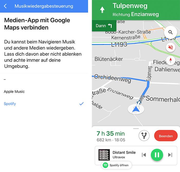 Google Maps Musiksteuerung Spotify