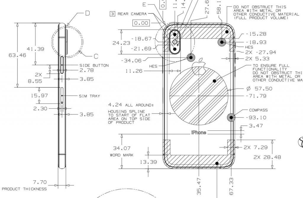 Iphone Xs Technische Zeichnung