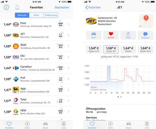 1 2 3 Spritpreise App Screenshots