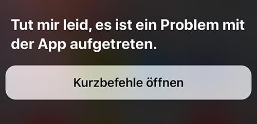 Apple Kurzbefehle App Fehler