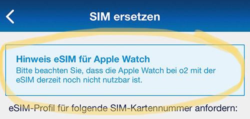 O2 Esim Apple Watch