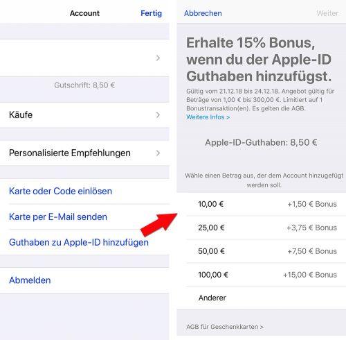 App Store Account Aufladen Mit Bonus