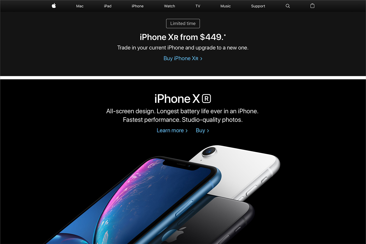 Apple Iphone Xr Webseite