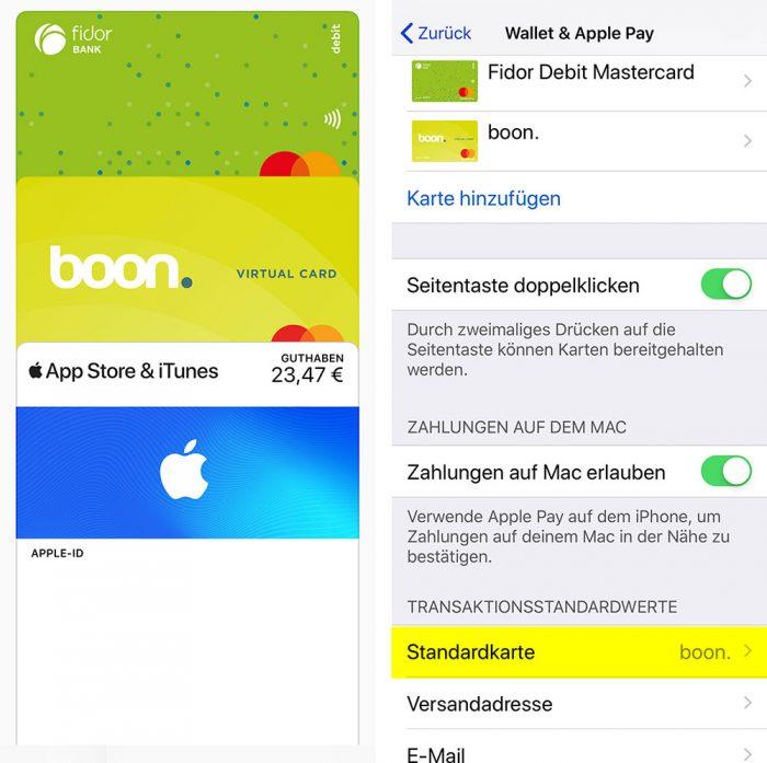 Apple Pay Standardkarte Aendern