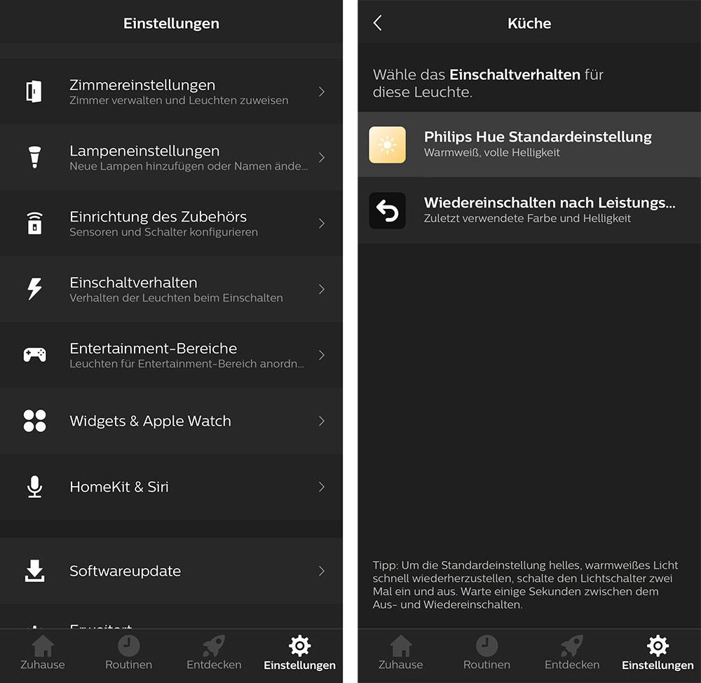 Philips Hue Einschaltverhalten Der Lampen In Der Hersteller App