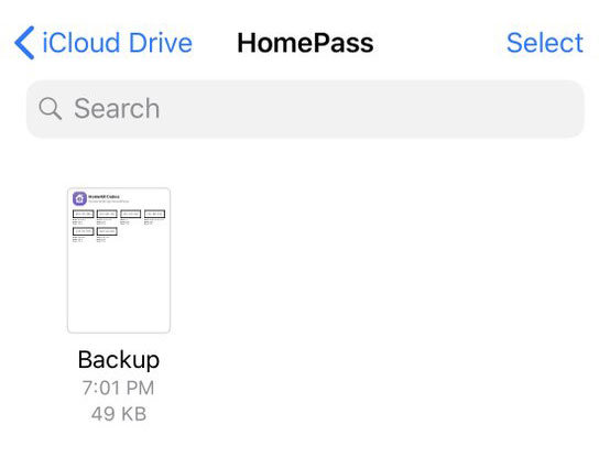 Homepass Backup