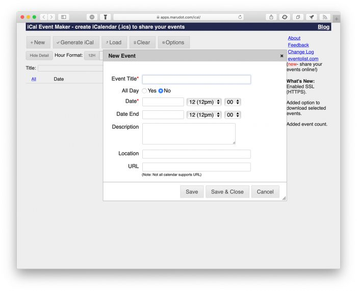 Ical Maker Webseite