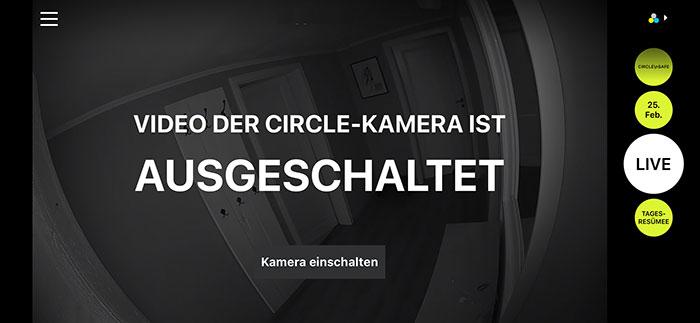 Circle Kamera Ausgeschaltet