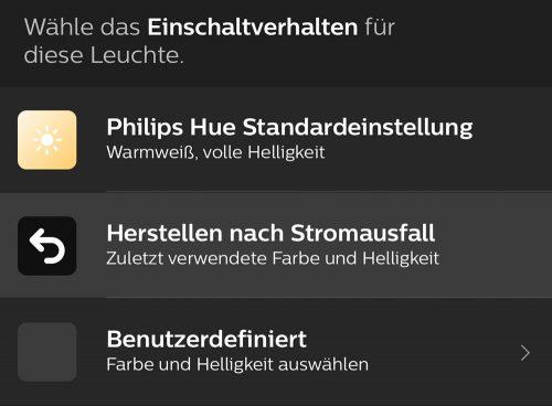 Philips Hue App Einschaltverhalten Einstellen