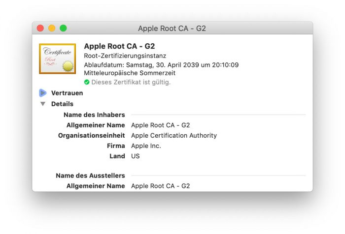 Zertifikat Apple