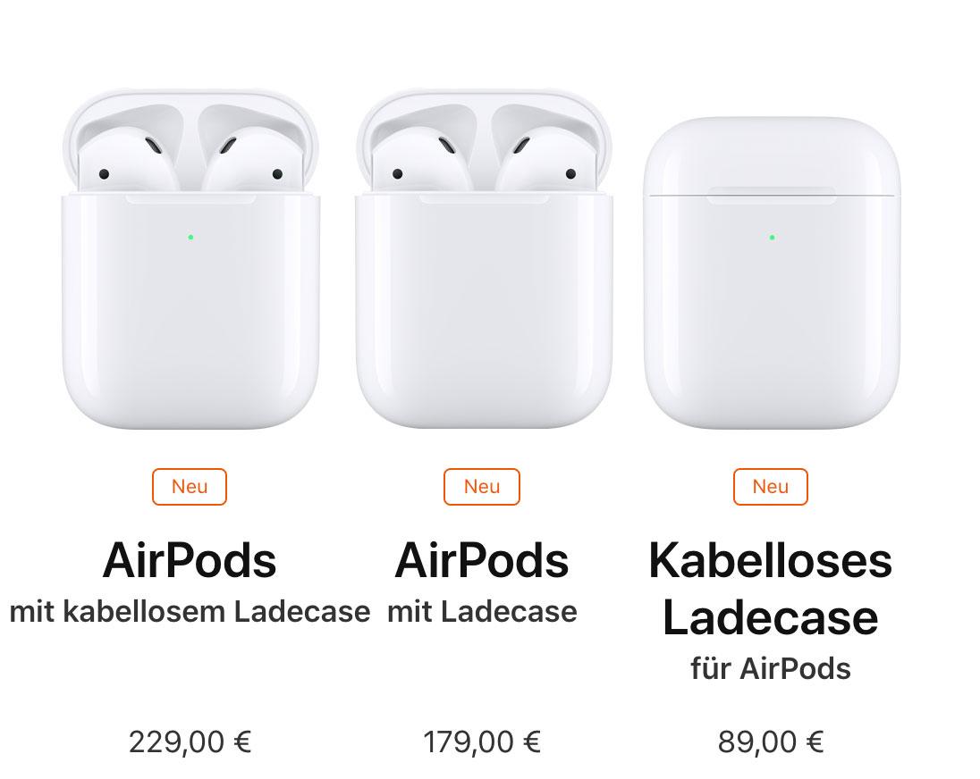 AirPods: Version mit kabellosem Ladecase bereits