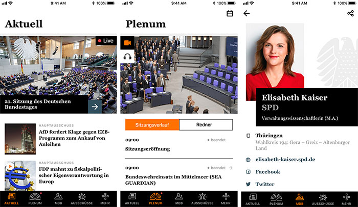 Deutscher Bundestag App Screenshots
