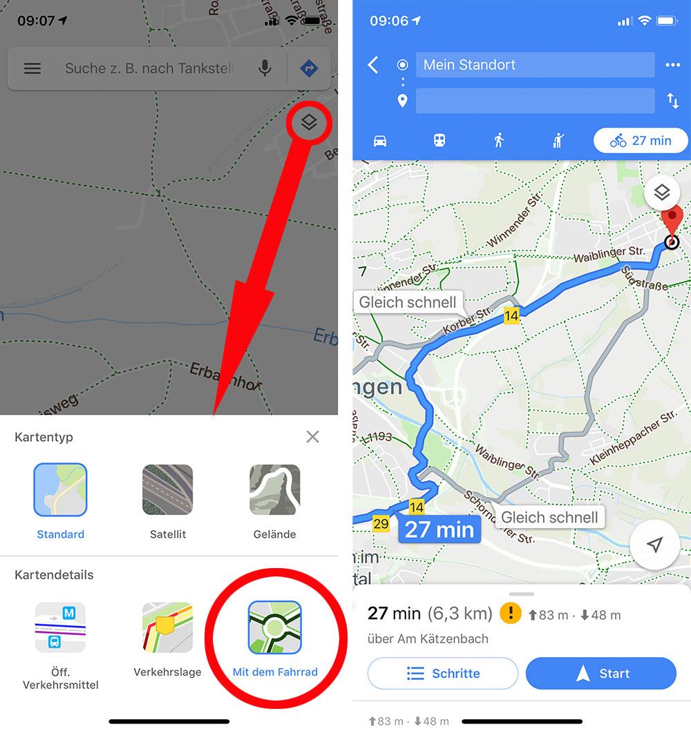 Google Maps Fahrrad Ansicht