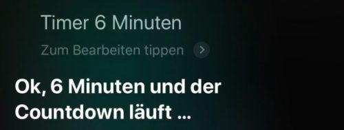 Timer 6 Minuten Siri