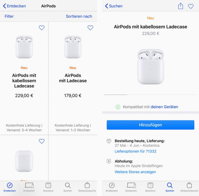 Airpods Lieferung Apple Store