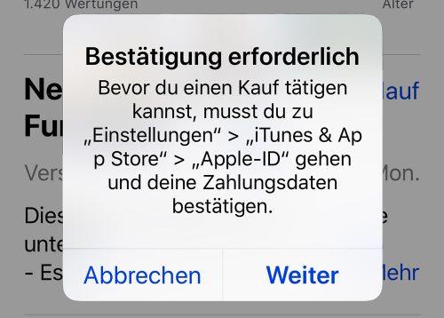 App Store Kauf Zahlungsdaten Bestaetigen