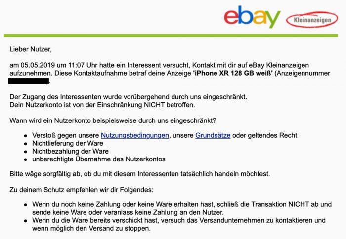 Ebay Kleinanzeigen Betrugsverdacht