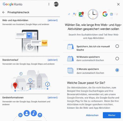 Google Privatsphaere Automatisch Loeschen Einstellungen