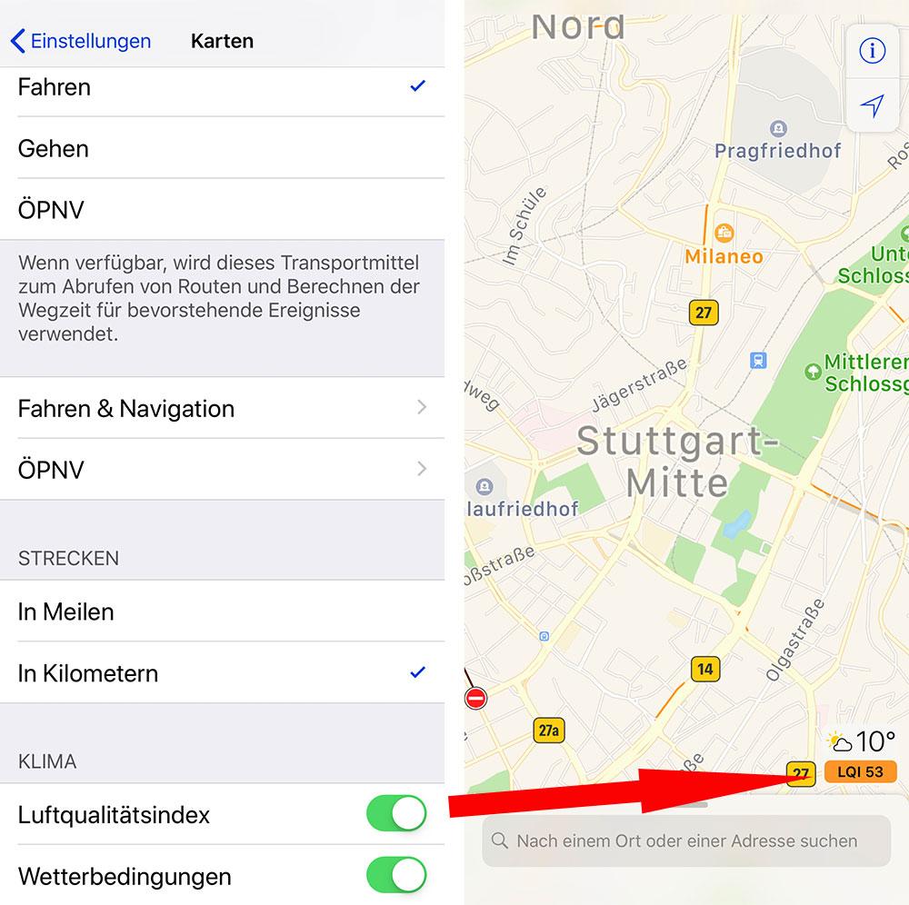 Apples Karten App Mautstrassen Luftqualitatsindex Und