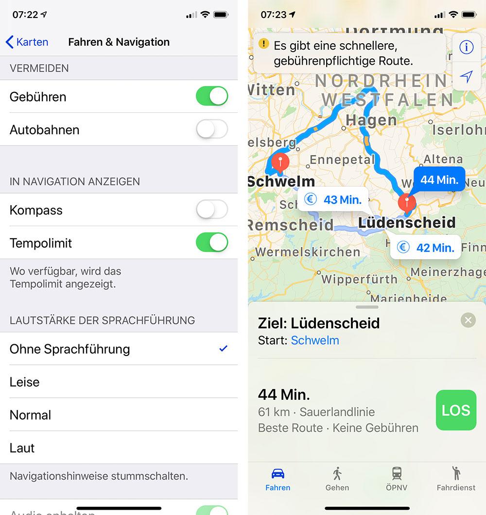 Karten App Apple Mautstrassen