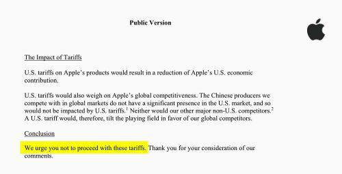 Apple Schreiben Gegen Strafzoll Trump