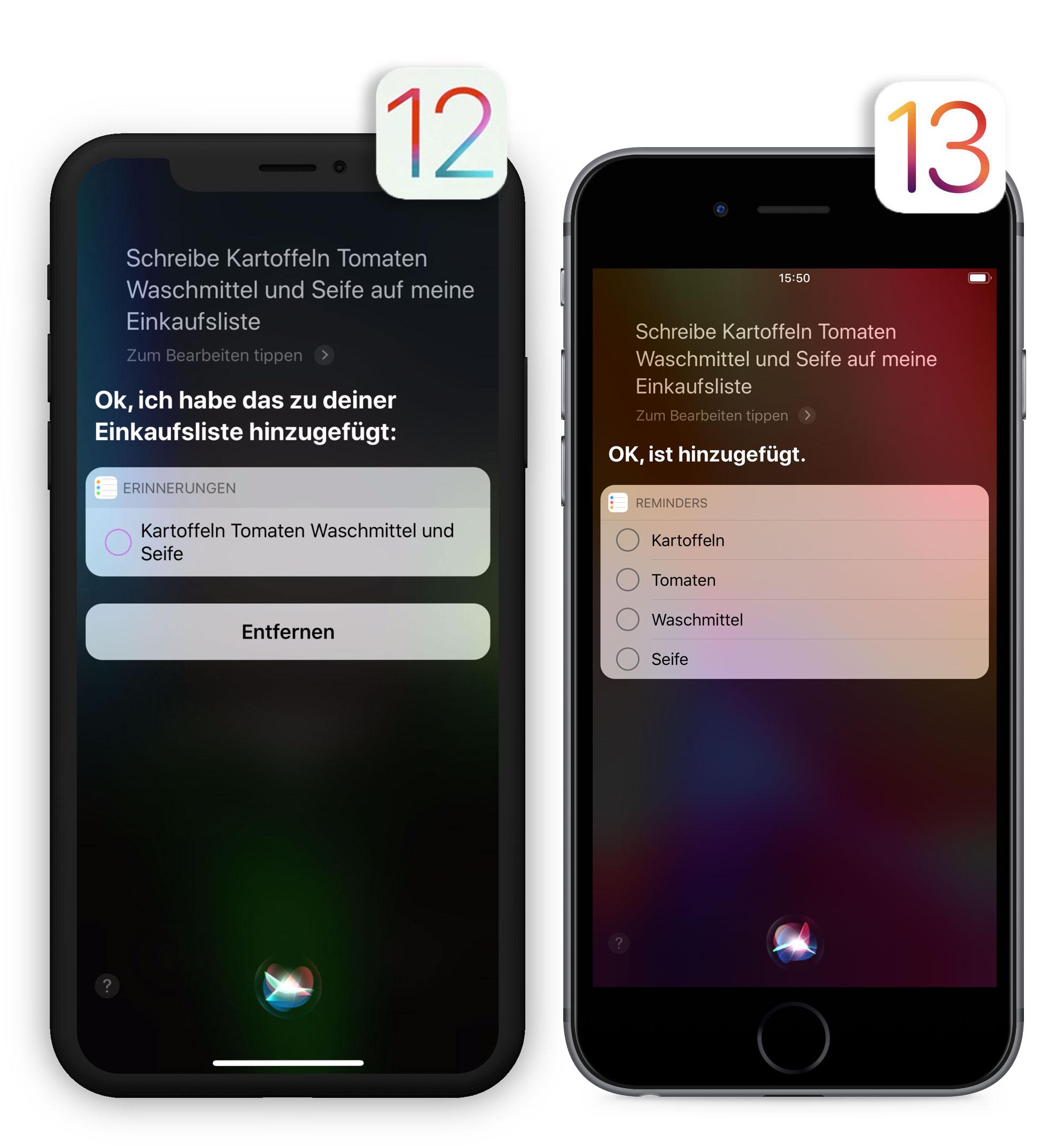 Siri Einkaufsliste Vergleich Ios13