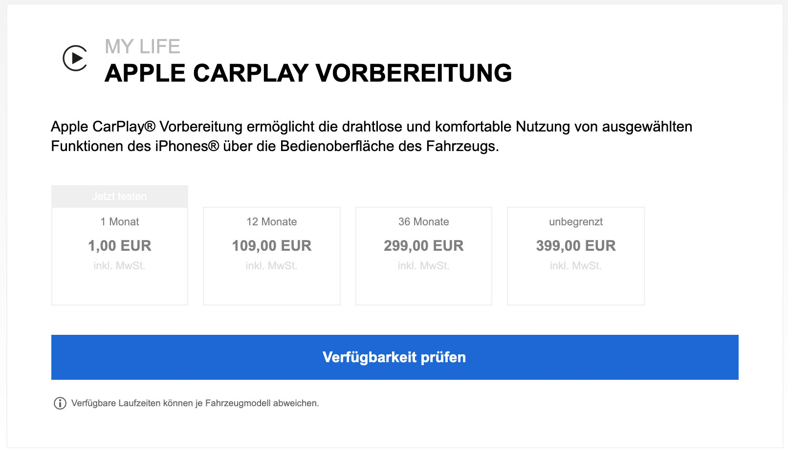Carplay Vorbereitung