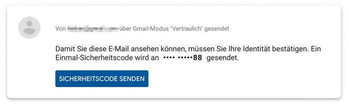 Gmail Vertraulicher Modus Empfang Mit Code