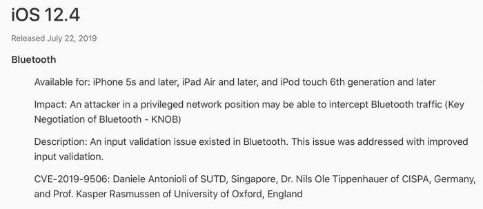Knob Bluetooth Schwachstelle Apple