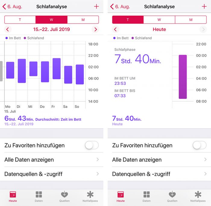 Withings Schlafanlyse In Apple Health