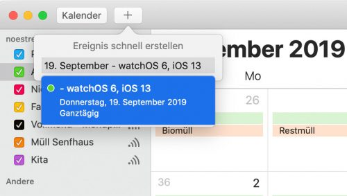 Kalender Ios 13