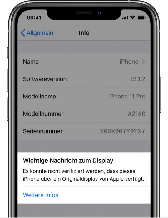 Ios13 Iphone New Settings General About Unable To Verify Genuine Apple Display