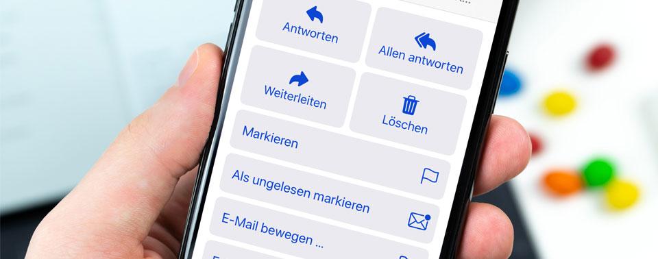 Apples vermurkste Symbolleiste in der Mail-App von iOS 13