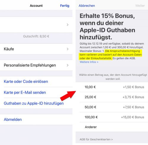 Apple Store Itunes Guthaben Rabatt Aktion Dezember 2019