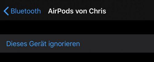 Airpods Bluetooth Geraet Ignorieren