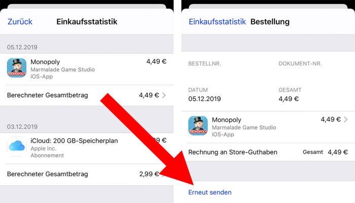 App Store Rechnung Erneut Anfordern